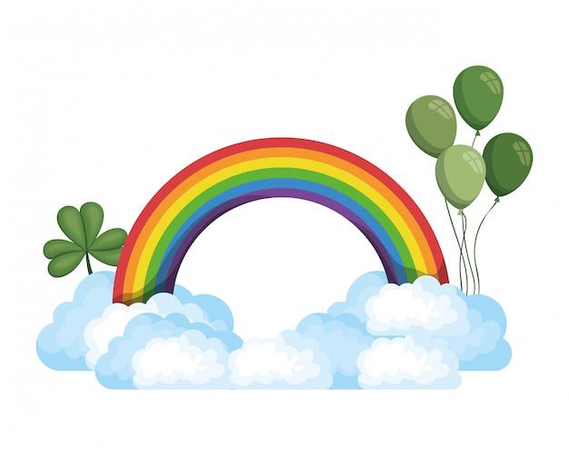 Regenbogen mit wolken lokalisiertes symbol