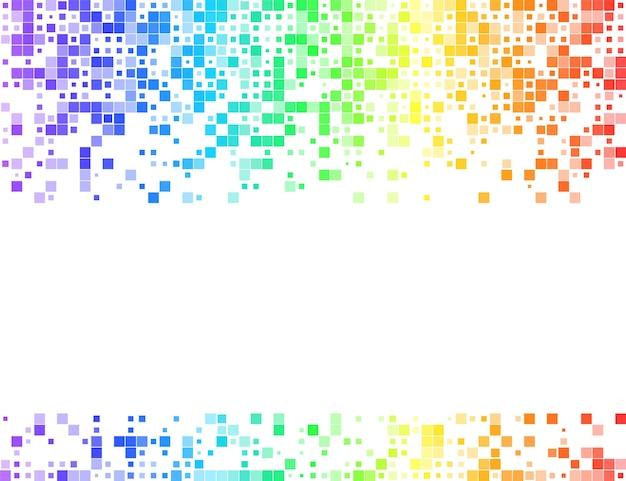 Regenbogen-mosaik-hintergrund. quadratisches mehrfarbiges ornament. helles abstraktes banner-design. vektor-illustration.