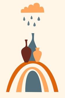 Regenbogen-muster-hintergrund. cartoon-regenbogenbogen-boho-minimalistischer druck für design-babyparty-einladung, kinderladen-tag, mädchen-t-shirt-druck usw.