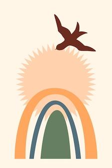 Regenbogen-muster-hintergrund. cartoon-regenbogenbogen-boho-minimalistischer druck für design-babypartyeinladung, kindershop-tag, mädchen-t-shirt-druck usw.