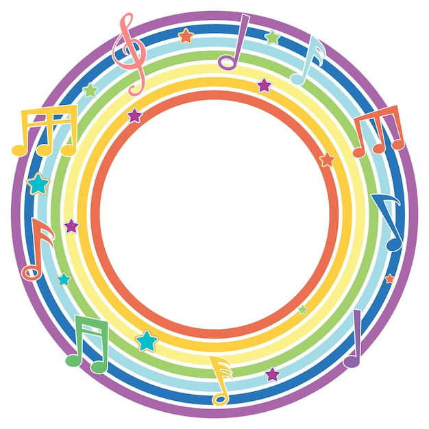 Regenbogen runder rahmen mit musikmelodiesymbolen