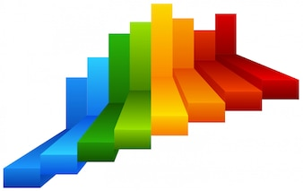 Regenbogen Schritte Infographik Diagramm