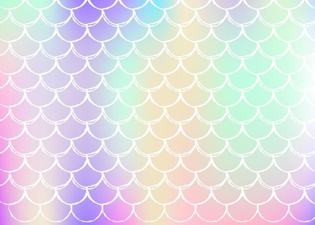Regenbogen skaliert hintergrund mit kawaii meerjungfrau-prinzessinmuster.