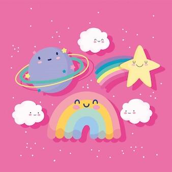 Regenbogen sternschnuppenplanet wolken himmel magische karikatur dekoration vektor-illustration