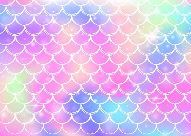 Regenbogen stuft hintergrund mit kawaii meerjungfrauprinzessinformen ein