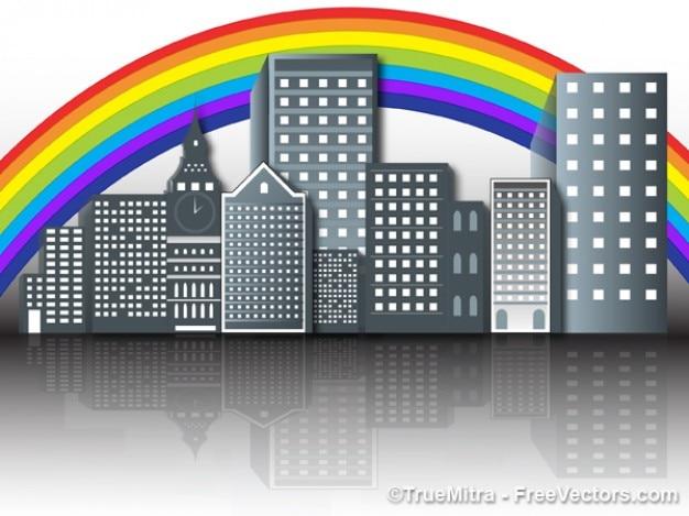 Regenbogen über der modernen stadt