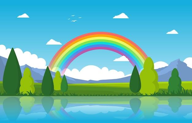 Regenbogen über teichsee-naturlandschafts-landschaftsillustration