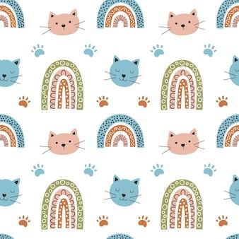 Regenbogen und katze nahtlose muster vektor-illustration süßes muster auf einem bogen im boho-stil