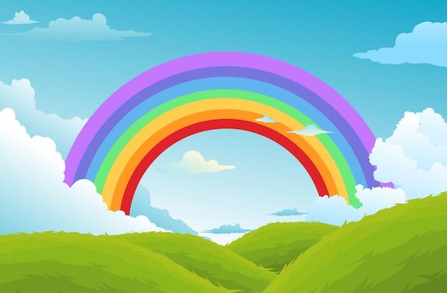 Regenbogen und wolken im himmelhintergrund