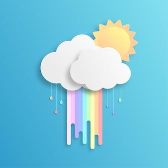 Regenbogen und wolken mit papierschnittart