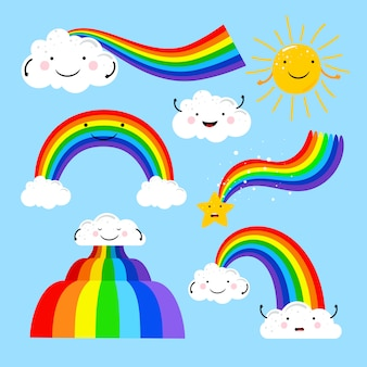 Regenbogen- und wolkenelemente
