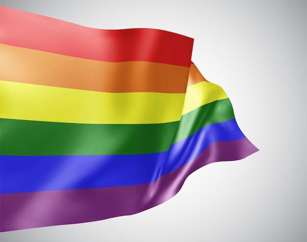 Regenbogen, vektorflagge mit wellen und kurven im wind auf weißem hintergrund.