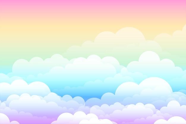 Regenbogen verträumter wolkenphantasiehintergrund