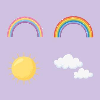 Regenbogen, wolken und sonne untergehen