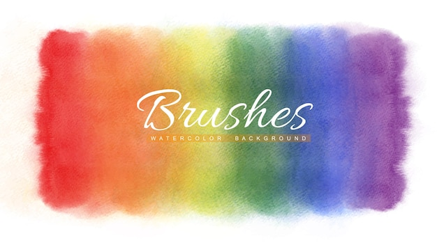 Regenbogenaquarell befleckt abstrakten hintergrund. mehrfarbiger pinselstrich. Premium Vektoren