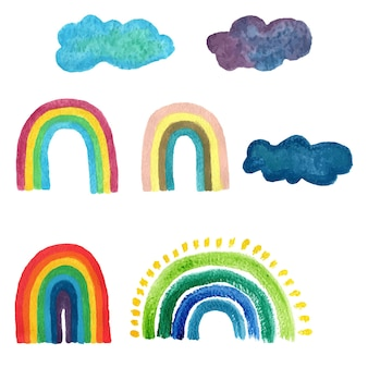 Regenbogenaquarellmustersatz lokalisierte vektorillustration. malen sie stilbild für dekorationsdesign. kindlicher hintergrund. sommerhintergrund mit buntem farbverlauf.