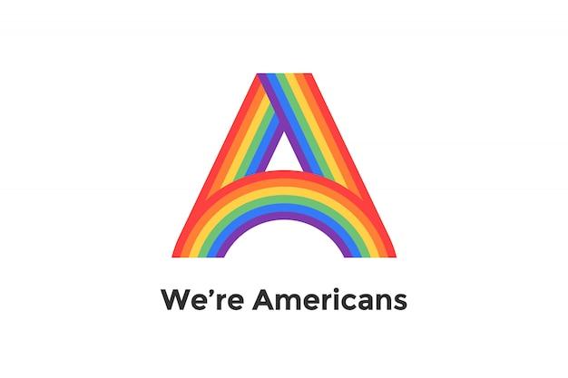 Regenbogenbuchstabe a und text wir sind amerikaner für zeichen, emblem, etikett. konzept lgbt-zeichen für marke, etikett, plakat. illustration