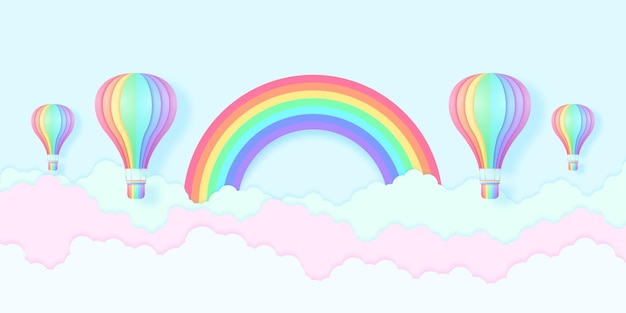 Regenbogenfarbene heißluftballons fliegen in den blauen himmel und bunte wolken mit regenbogen