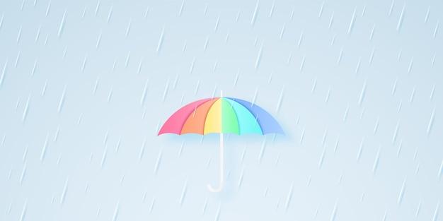 Regenbogenfarbener regenschirm mit starkem regen, regenzeit, regensturm, papierkunststil