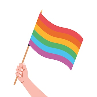 Regenbogenflagge in der hand stolzflaggenhand, die das lgbt-symbol lokalisiert auf weißem hintergrund hält