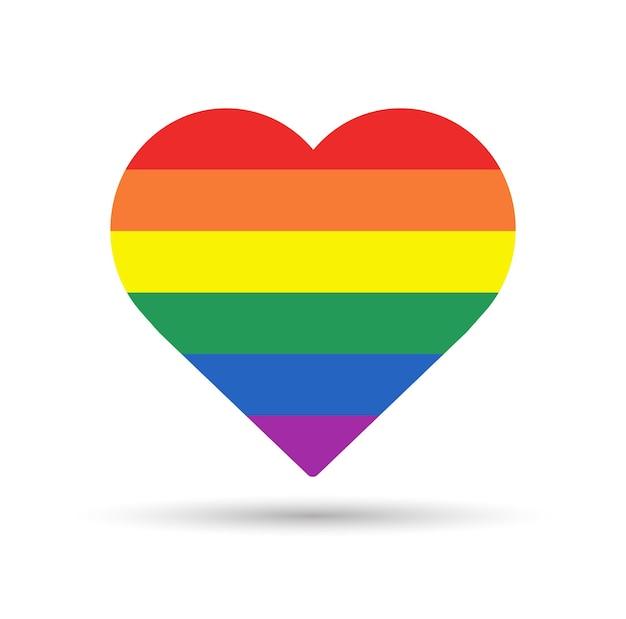 Regenbogenherz lgbtq pride-konzept herzform in lgbtq-flagge auf weißem hintergrund