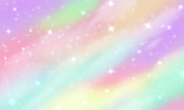 Regenbogenhimmel mit glitzernden sternen