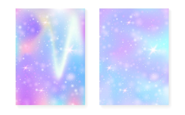 Regenbogenhintergrund mit kawaii prinzessinsteigung. magisches einhorn-hologramm. holographisches fee-set. mystisches fantasy-cover. regenbogenhintergrund mit funkeln und sternen für nette mädchenpartyeinladung.