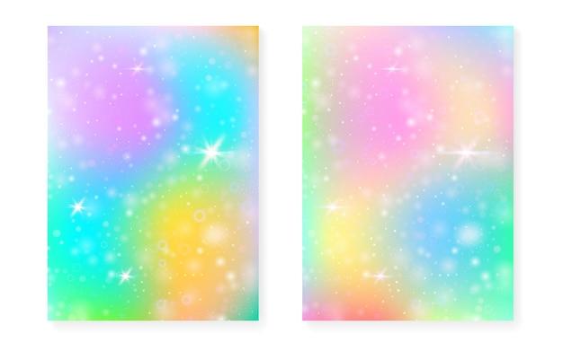 Regenbogenhintergrund mit kawaii prinzessinsteigung. magisches einhorn-hologramm. holographisches fee-set. spektrum fantasy-cover. regenbogenhintergrund mit funkeln und sternen für nette mädchenpartyeinladung.