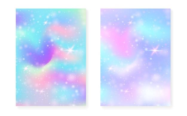 Regenbogenhintergrund mit kawaii prinzessinsteigung. magisches einhorn-hologramm. holographisches fee-set. stilvolles fantasy-cover. regenbogenhintergrund mit funkeln und sternen für nette mädchenpartyeinladung.