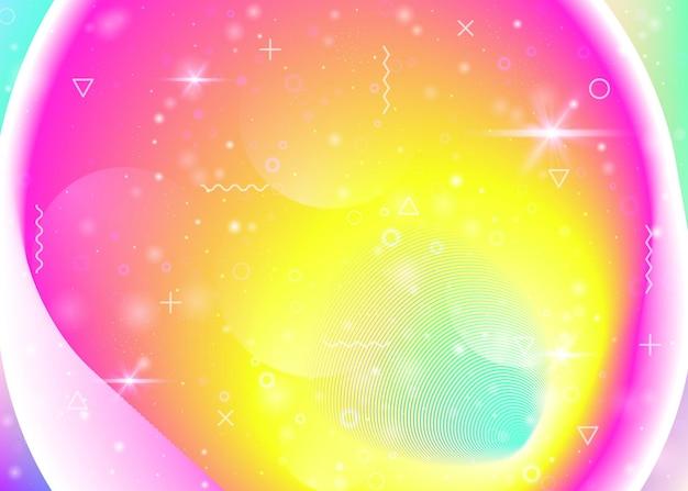 Regenbogenhintergrund mit lebendigen farbverläufen. holographische dynamische flüssigkeit. kosmos-hologramm. grafikvorlage für mobile schnittstelle, broschüre und web-app. flüssiger regenbogenhintergrund.
