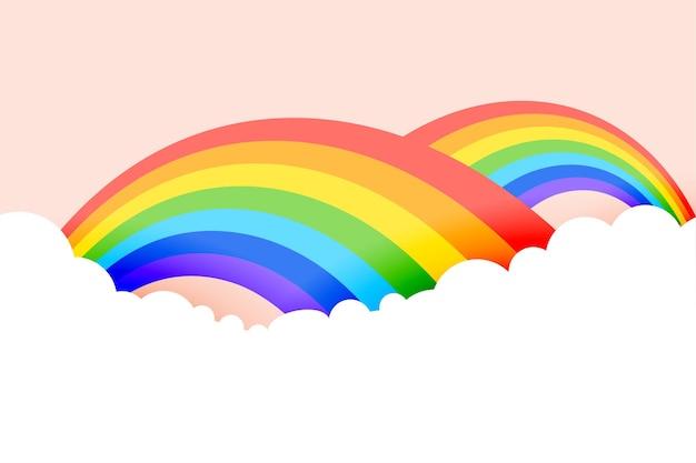 Regenbogenhintergrund mit wolken in pastellfarben