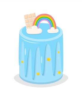 Regenbogenkuchen mit stück weißer schokolade, glasur.
