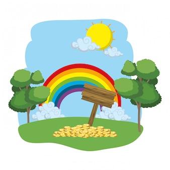 Regenbogenlandschaft wald zeichen