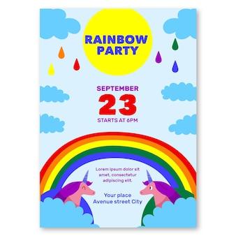 Regenbogenpartyeinladungsschablone