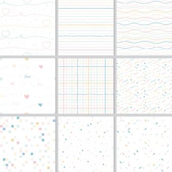 Regenbogenpastellherz und geometrische nahtlose mustersammlung