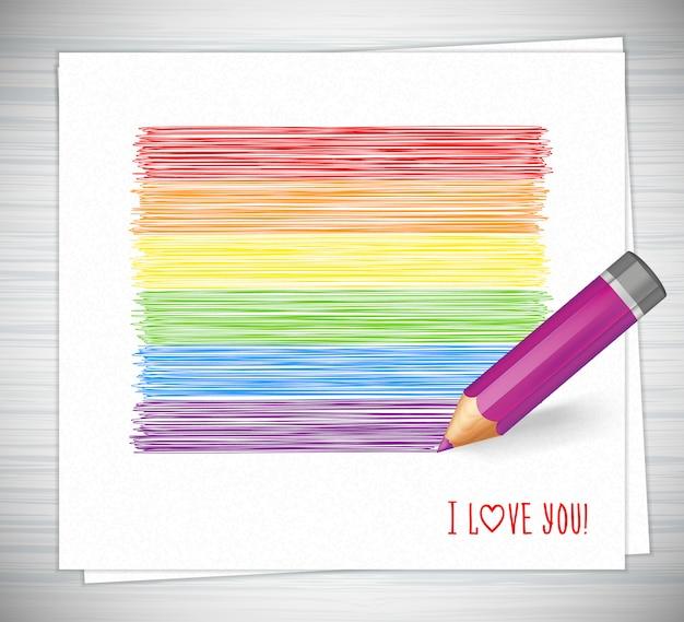Regenbogenstreifen gezeichnet mit bleistift