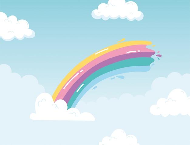 Regenbogenstrichfarbe mit wolkenhimmelkarikaturhintergrund