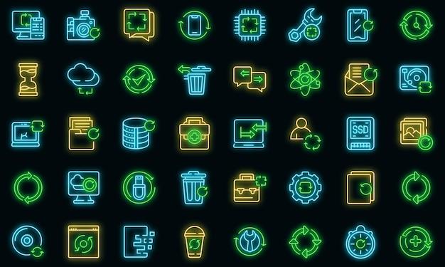 Regenerationssymbole gesetzt. umrisse von regenerationsvektorsymbolen neonfarbe auf schwarz
