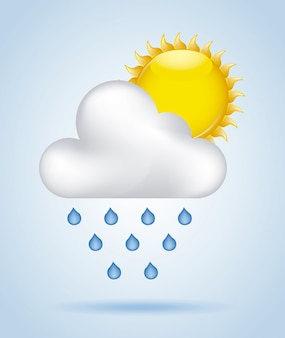 Regenhimmel über blauer hintergrundvektorillustration