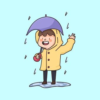 Regenjunge, der einen mantel niedliche karikaturillustration trägt