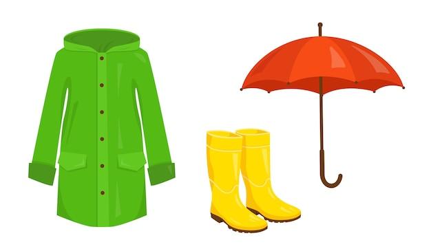 Regenmantel, gummistiefel und regenschirm auf weißem hintergrund. regenschutzelemente eingestellt.