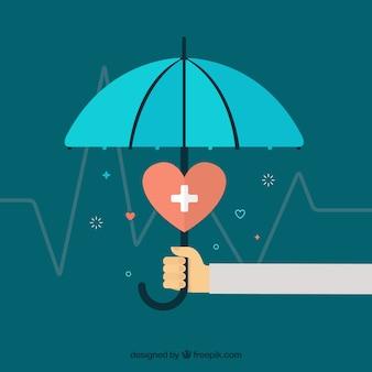 Regenschirm, herz und kardiogramm