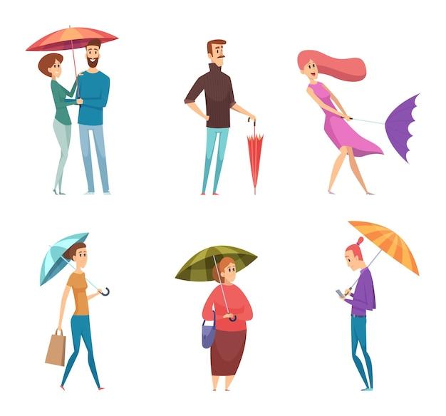 Regenschirm leute. depressive charaktere am regentag halten und gehen mit regenschirmen vektor-erwachsene. illustrationsleute mit regenschirm, regen und wind