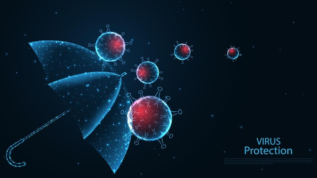 Regenschirm mit covid-19-coronavirus-krankheit. stoppen sie viren. schutz vor krankheiten. leitungsverbindung. low-poly-wireframe-design. abstrakter geometrischer hintergrund. vektor-illustration.