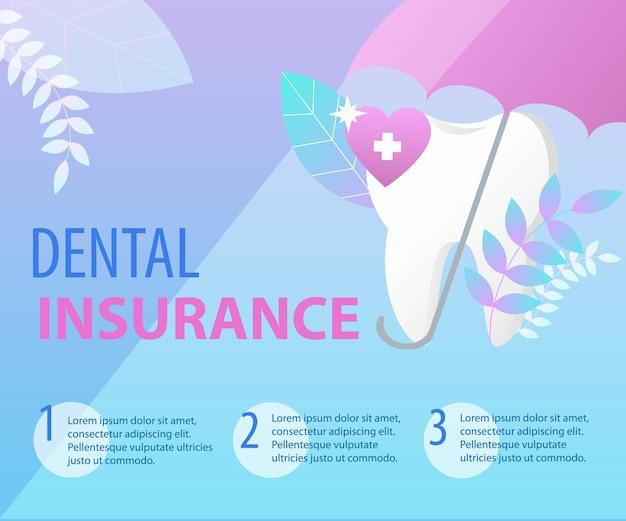 Regenschirm schützen zahnzahnversicherungs-konzept. banner-vorlage