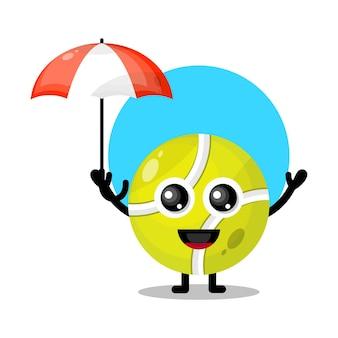 Regenschirm tennisball niedliches charakter maskottchen