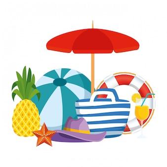 Regenschirm- und ballonstrand mit sommerikonen
