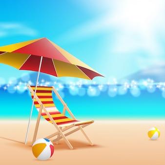 Regenschirm und stuhl am meer