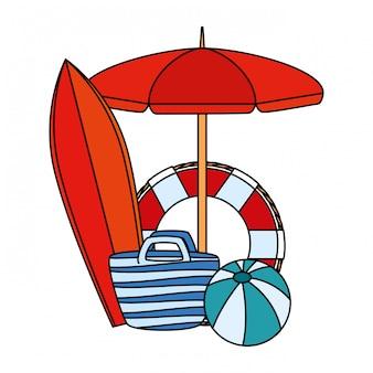 Regenschirm und surfbrett mit sommerikonen