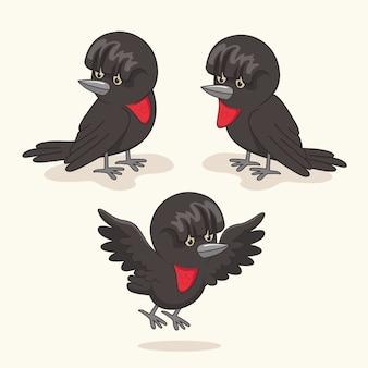 Regenschirm-vogel-cartoon-niedliche tiere